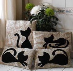 Lucky Black Cat Appliqued Decorative Cushion by deejavuart on Etsy, £14.00