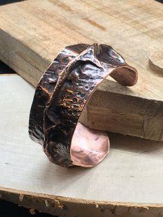 Men's Hammered Air Chased Copper Cuff Bracelet by NurturedWorks