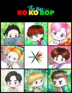 Exo comeback fan art Credit to artist Baekhyun, Exo Kokobop, Park Chanyeol, Exo Cartoon, Chibi, Exo Stickers, Exo Anime, Exo Album, Exo Fan Art