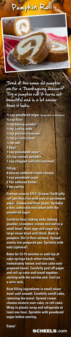 Pumpkin fans: Bring this fun, tasty dessert to your Thanksgiving dinner: Pumpkin Roll. // Recipe from #Scheels Gramma Ginna's Deli #recipe #pumpkin