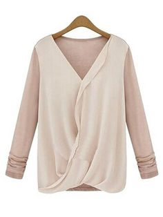Sale 13% (9.69$) - Women Chiffon Patchwork Casual Cotton Knitted Long Sleeve T-Shirts