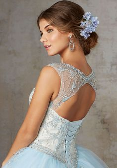 Jeweled Beading on a Tulle Ballgown | Vizcaya Style 89129 | Tulle Quinceañera Dress Features a Beautiful Illusion Neckline Beaded with Jewel Details. Beaded Appliqués Throughout Skirt. Matching Stole Included. Keyhole Corset Back