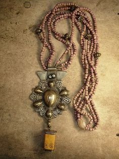 Antique Tribal Necklace Kuchi Talisman pendant by vintagesparkles, $155.00