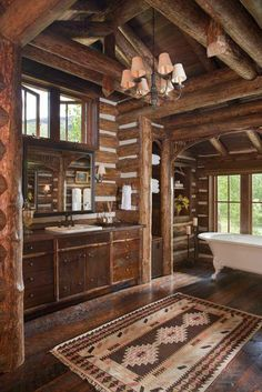 "This reminds me of r house. I LOVE this Rustic bathroom! Nice for a ranch home/hunting lodge. ""Beautiful and rustic log home bathroom with an abundance of warm-toned wood"" Log Cabin Living, Log Cabin Homes, Log Cabins, Rustic Bathroom Designs, Rustic Bathrooms, Bathroom Ideas, Bathroom Layout, Design Bathroom, Log Home Bathrooms"