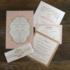 this would be Pretty/has Gold envelopes~French Baroque Wedding Invitation Vintage Brights 1. $4.05, via Etsy.