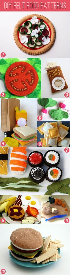 DIY felt food patterns and tutorials. I'm pretty much in love with the bag of tortilla chips.