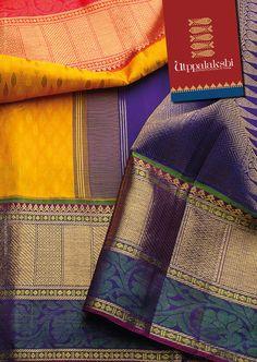 Purple, Green, Pink and Yellow Indian Silk Sarees, Soft Silk Sarees, Indian Beauty Saree, Silk Saree Kanchipuram, Kanjivaram Sarees, Bridal Wedding Dresses, Saree Wedding, Orange And Purple, Yellow
