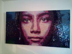 Портрет девушки .  Pixel-Glass мозаика . Около 30 цветовых оттенков