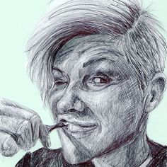 An expressive pen drawing of a woman brushing her teeth by Clare Morgan #Regram via @curiousinkyme