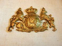 Coat of arms Heraldry Heraldic shield with crown and lions rampant brass like coat of arms of Sweden furniture ornament by VintageFrenchStore on Etsy