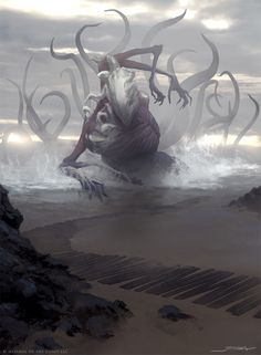 Drowner of Hope by jameszapata H.P. Lovecraft demon god deity old one beach ocean sea monster beast creature animal | Create your own roleplaying game material w/ RPG Bard: www.rpgbard.com | Writing inspiration for Dungeons and Dragons DND D&D Pathfinder PFRPG Warhammer 40k Star Wars Shadowrun Call of Cthulhu Lord of the Rings LoTR + d20 fantasy science fiction scifi horror design | Not Trusty Sword art: click artwork for source