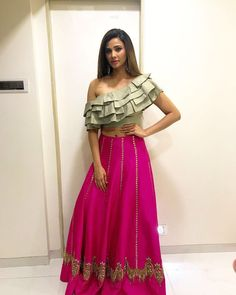 Beautiful at diwali party wearing beautiful outfit by jumki styling done by Choli Designs, Lehenga Designs, Saree Blouse Designs, Stylish Blouse Design, Fancy Blouse Designs, Indian Designer Outfits, Designer Dresses, Indian Dresses, Indian Outfits