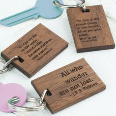 Personalised wood keyring quote