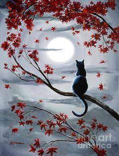 Black Cat In Silvery Moonlight by Laura Iverson Zo lief en mooi ................... lb xxx.