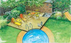 Nachdem die große Rasenfläche nicht mehr als Spielwiese für die Kinder dient, wird nach neuen Ideen für die Gartengestaltung gesucht. Unsere Ideen beinhalten zum Einen einen romantischen Landhausgarten und zum Anderen eine Variante mit Pool. (Pflanzplan als PDF zum Herunterladen und Ausdrucken)