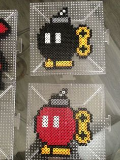 Two Bob-ombs Mario perler beads by S Sharda Perler Bead Mario, Diy Perler Beads, Pearler Beads, Pixel Art, Pixel Beads, Fuse Beads, Pearler Bead Patterns, Perler Patterns, Super Mario