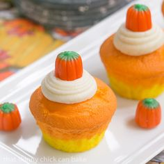 Candy Corn Cupcakes; perfect for a Halloween party or a child's classroom // A Cedar Spoon #TheHalloweenProject