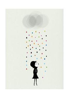 Mademoiselle sous la pluie impression