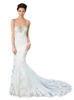 592177e8419bd Datangep Women's Lace Mermaid Backless Spaghetti Straps Beaded Wedding Dress  at Amazon Women's Clothing store: