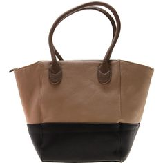 Diana Ferrari Eva Tote Tan Black ($41) ❤ liked on Polyvore
