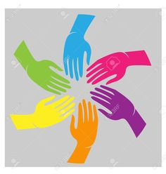 Illustration of Teamwork hands colorful cultural people icon vector vector art, clipart and stock vectors. Teamwork Logo, African Quilts, Graphic Design Studios, Logo Design, People Icon, Diy Bouquet, Power To The People, Vector Art, Vector Stock