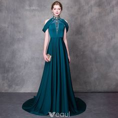 Modern / Fashion Ink Blue Evening Dresses 2018 A-Line / Princess High Neck Strapless Sleeveless Beading Rhinestone Sash Court Train Ruffle Backless Formal Dresses Glamorous Evening Dresses, Burgundy Evening Dress, Grey Evening Dresses, Tight Dresses, Short Dresses, Formal Dresses, Ribbed Knit Dress, Tube Dress, Ladies Dress Design