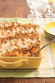 Recipe: Classic Sweet Potato CasseroleTopped with pretty stripes of melty marshmallows and crunchy c... - Photo: Beth Dreiling Hontzas