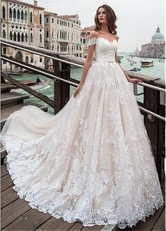 [246.00] Fantastic Tulle Off-the-shoulder Neckline A-line Wedding Dress With Lace Appliques & Beadings - dressilyme.com