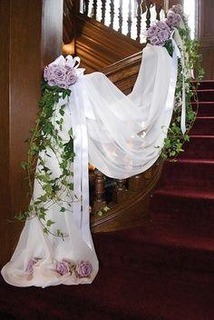 wedding stairway banister decor - Google Search