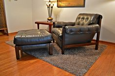 Mid Century Lafer Style Tufted Sling Lounge Chair & Ottoman by DirtyGirlsAntiques on Etsy