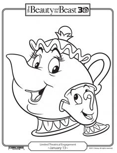 Disney coloring page, Mrs Potts & cup frm Beauty & the Beast