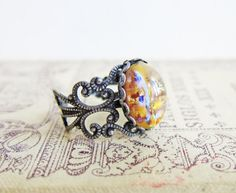 Yellow Fire Opal Ring Harlequin Opal Ring Ombre Ring Jonquil Honey San - Jewelsalem