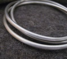 Handmade Sterling Silver Interlocking Bangle Bracelets, Metalwork Jewelry Gift for Woman or Man