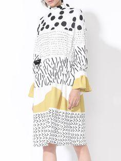 Shop Midi Dresses - Multicolor Printed Statement Turtleneck Polyester Midi Dress online. Discover unique designers fashion at StyleWe.com.