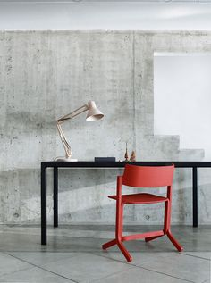 *home office, desk, workspaces, red chair* - Concrete wall workspace