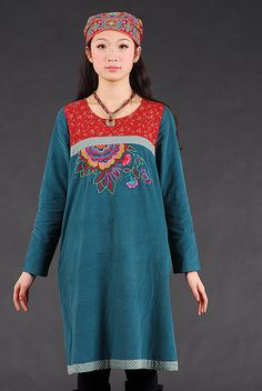 Embroidered dress with patchwork liberty - green from Origina by DaWanda.com