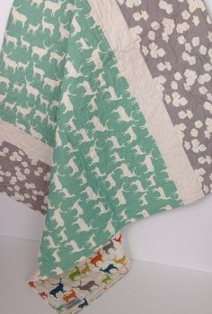 Organic Baby Boy Quilt, Gray and Pool Blue-Green, Modern Quilt,Elk Grove, Reversible, Modern, Vintage, Birch Fabric, Multi-color,Owl, Deer on Etsy, $115.00