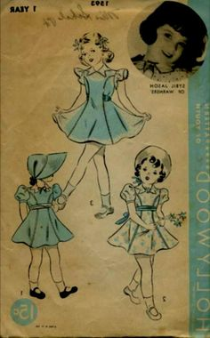 Dress patterns for little girls, late 1930's. The image has been flipped, but the little girl up in the corner is Sybil Jason, Warner Bros.' answer to Shirley Temple.