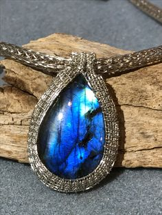Labradorite wire weave on Viking knit chain Www.perfect-duo.com