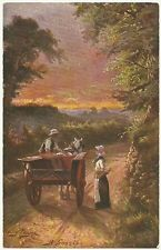 Twilight Horse Wagon Trail Country Scene Couple Unused Old Tuck Postcard