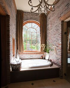 I like the thought of taking the curtains to the ceiling like this---    Bathroom Design Inspiration, Pictures, Remodels and Decor