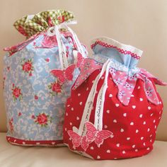 drawstring bags with butterflies