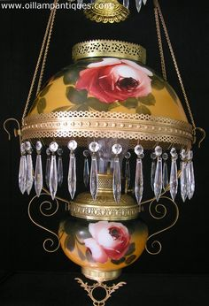 Bradley and Hubbard hanging oil lamp has a patent date of June 1898 - Oil Lamp Antiques Antique Light Fixtures, Antique Oil Lamps, Antique Chandelier, Vintage Lamps, Chandeliers, Victorian Lighting, Victorian Lamps, Antique Lighting, Brass Lamp