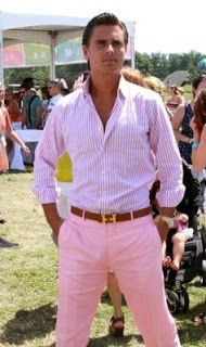 Scott Disick in all pink and a brown and gold Hermes belt.