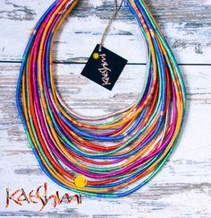 "Visrtuoso - unique yarn ""Maasai"" necklace (ethnic, boho, eco, hippie, folk) by Kaeshmi on Etsy"