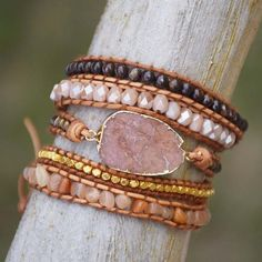 Natural Gilded Quartz Boho Bracelet We bet nobody you know has a wrap bracelet . Natural Gilded Quartz Boho Bracelet We bet nobody you know has a wrap bracelet as nice and unique Beaded Wrap Bracelets, Handmade Bracelets, Ankle Bracelets, Beaded Jewelry, Handmade Jewelry, Diamond Necklaces, Women's Jewelry, Jewelry Ideas, Jewelry Bracelets