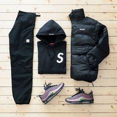 Sk. #Palace jacket / #Supreme hoodie / #CarharttWIP pants / #NikeLab x #Skepta air max 97 . #outfitgrid #nikeairmax97 #airmax #airmax97 #palaceskateboards #puffajacket #carhartt #supremenewyork #supremehoodie #ootd #outfitoftheday #streetwear #streetfashion #streetstyle #mensfashion #menswear #casuals #casualstyle #wdywt #basementapproved #fashion #outfit #streetbeast #flatlay