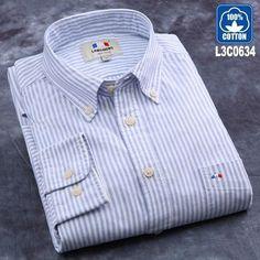 Men's Shirts LANGMENG 100% Cotton Hot Sale Brand Oxford Men Fashion Business Shirts Male Long Sleeve Shirts Mens Casual Shirt