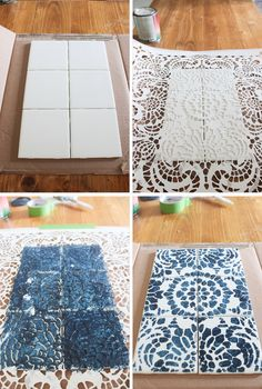 How to make a concrete serving tray with removable tile coasters. Perfect for an outdoor gathering or indoor entertaining. coasters tile DIY Concrete Tray with Removable Coasters - Shades of Blue Interiors Ceramic Tile Crafts, Concrete Crafts, Wood Crafts, Ceramic Art, Diy Wood, Coaster Crafts, Diy Coasters, Stone Coasters, Diy Tuiles