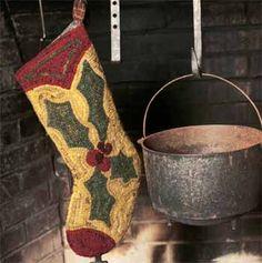 Hooked holly stocking